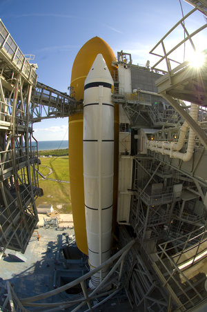 A view of NASA's Space Shuttle Atlantis at it sits on the launch pad ahead of the STS-122 mission to install Columbus