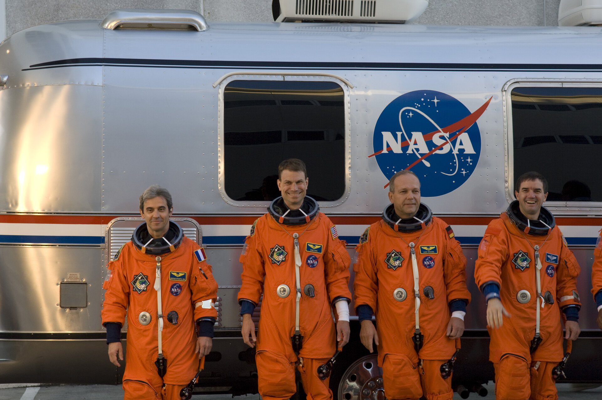 Crewmembers of the STS-122 shuttle mission during the practice countdown at NASA's Kennedy Space Center, Florida