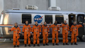 Crewmembers of the STS-122 shuttle mission during training