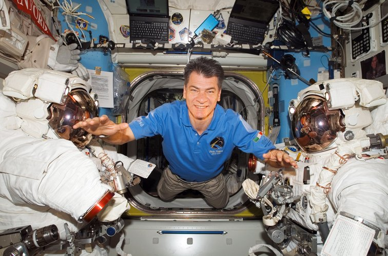 ESA astronaut Paolo Nespoli inside the Station's Quest Airlock