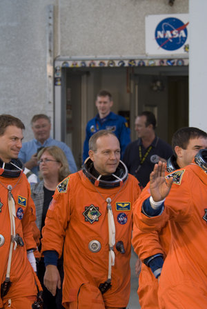 Hans Schlegel and STS-122 crew during the practice countdown at NASA's Kennedy Space Center, Florida