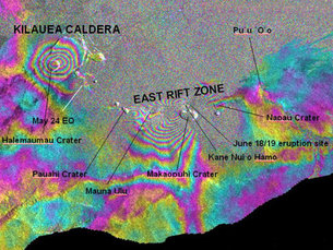 Interferogram 11 April to 20 June 2007, Kilauea volcano, Hawaii