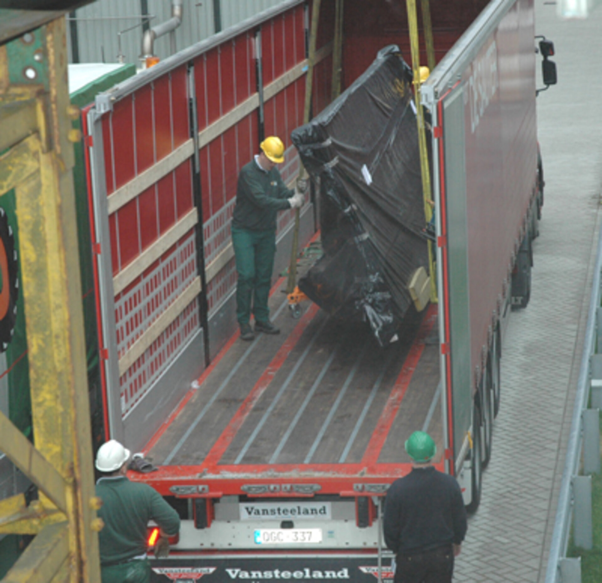 Large Screen being unloaded from the truck