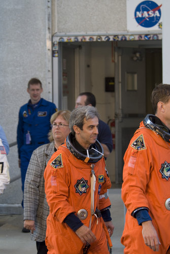 Léopold Eyharts and the STS-122 crew during the practice countdown at NASA's Kennedy Space Center, Florida