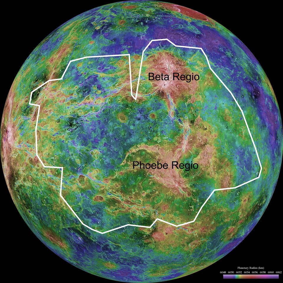 Magellan map with area mapped by Venus Express indicated
