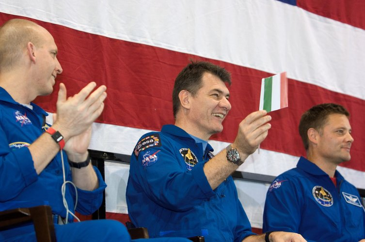 Paolo Nespoli during the Discovery crew's welcome home ceremony at Houston's Ellington Field