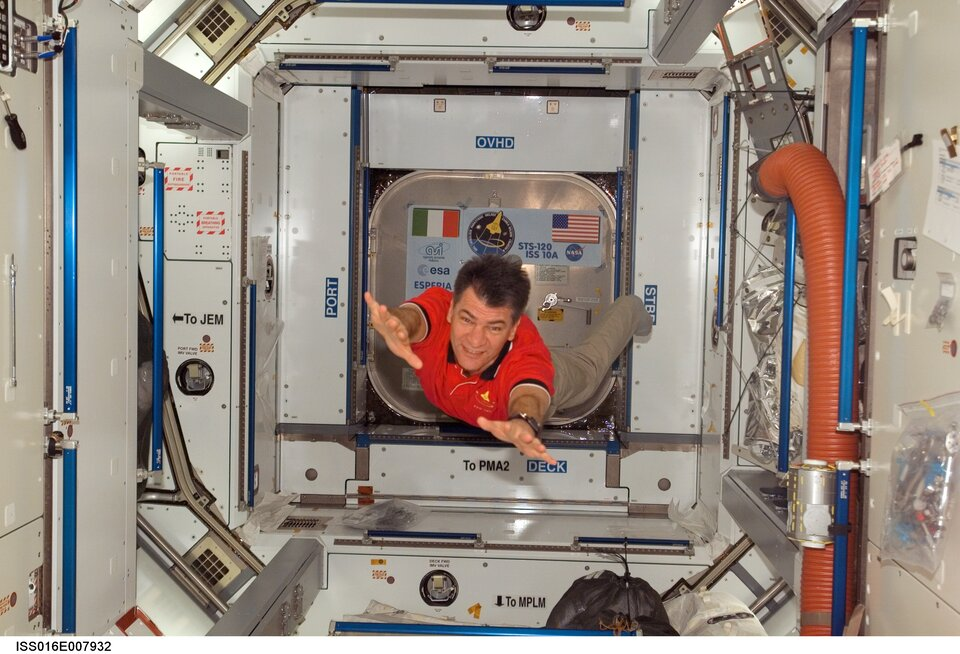 ESA astronaut Paolo Nespoli floats inside Harmony during the STS-120 mission