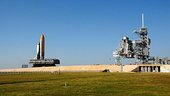 Atlantis rollout to launch pad for STS-122