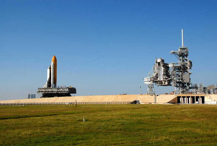 Space Shuttle Atlantis rollout to Launch Pad 39A