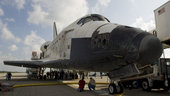 Space Shuttle Discovery lands at Kennedy Space Center, Florida,