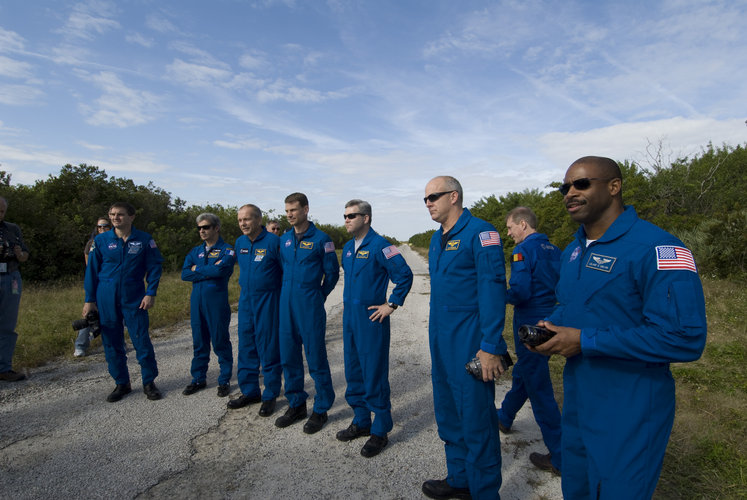STS-122 crew during the first day of Terminal Countdown Demonstration Test at KSC