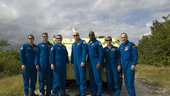 STS-122 crew during emergency evacuation training