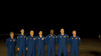 STS-122 mission crew arrives at KSC for TCDT