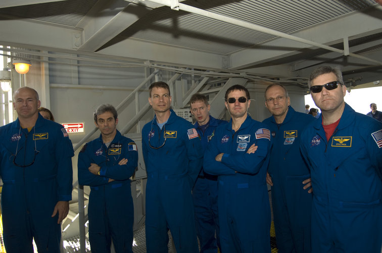 STS-122 mission crew during second day of Terminal Countdown Demonstration Test activities at NASA Kennedy Space Center, Florida