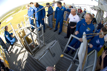 STS-122 mission crew during the Terminal Countdown Demonstration Test at NASA's Kennedy Space Center