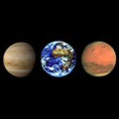 Venus, Earth and Mars