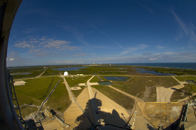 View from the top of Launch Pad 39A at NASA's Kennedy Space Center, Florida