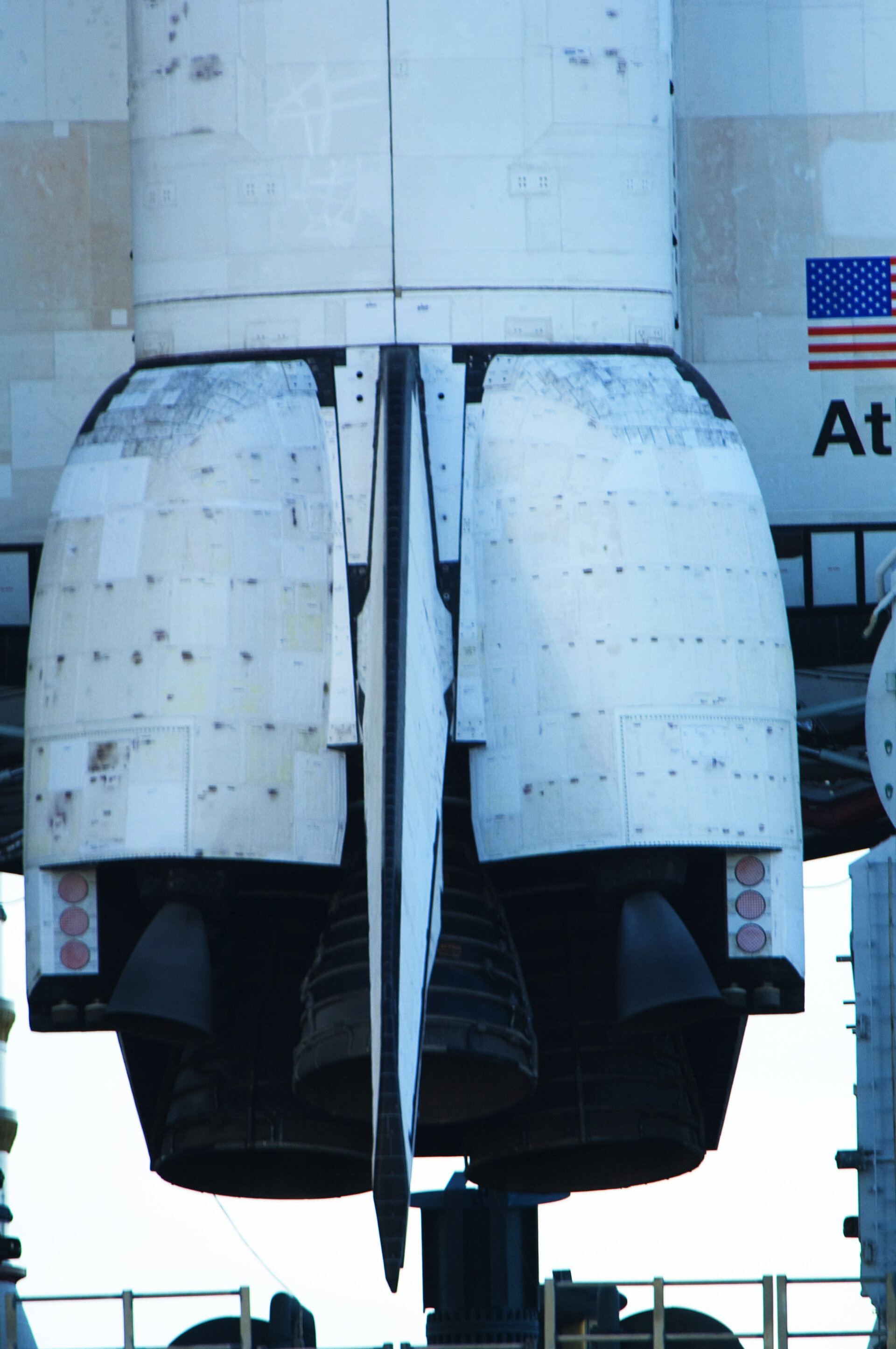 Close-up view of Space Shuttle Atlantis' main engines