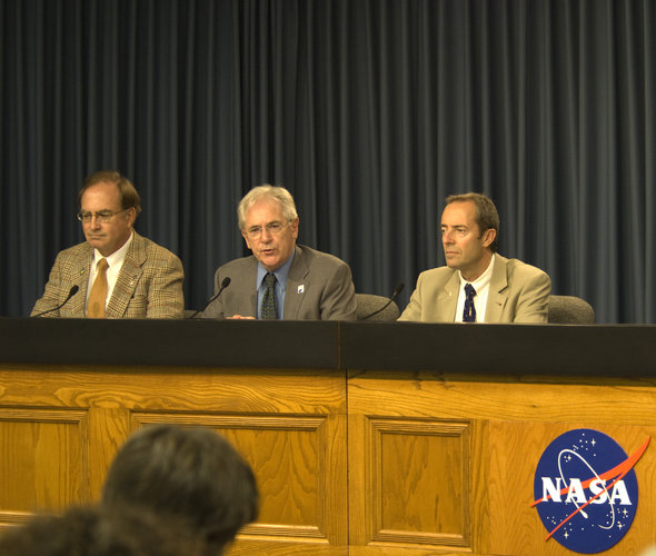 ESA press briefing at Kennedy Space Center ahead of the Columbus Mission