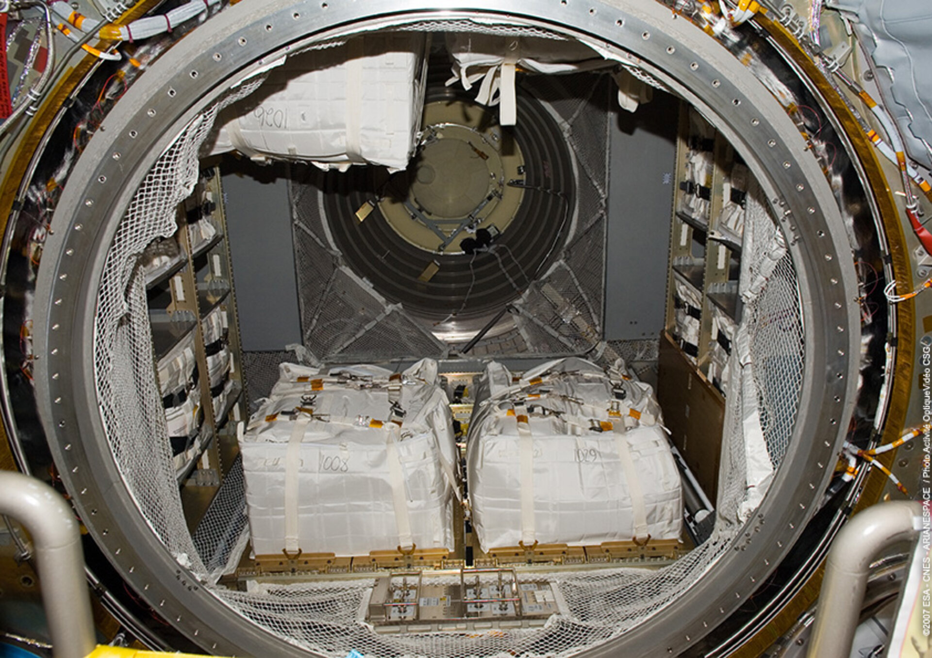 Jules Verne dry cargo loaded inside the Integrated Cargo Carrier