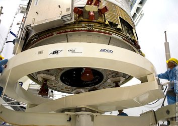 Jules Verne's Propulsion Module is lifted into position ahead of mating with the spacecraft's Integrated Cargo Carrier
