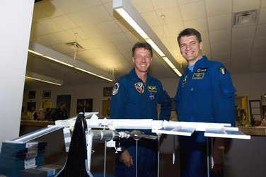 Michael Foale and Paolo Nespoli at KSC
