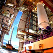 Solid rocket booster arrives for integration