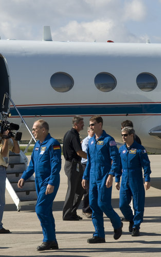 STS-122 mission crew arrive at NASA's Kennedy Space Center, Florida, ahead of their mission to deliver the European Columbus lab