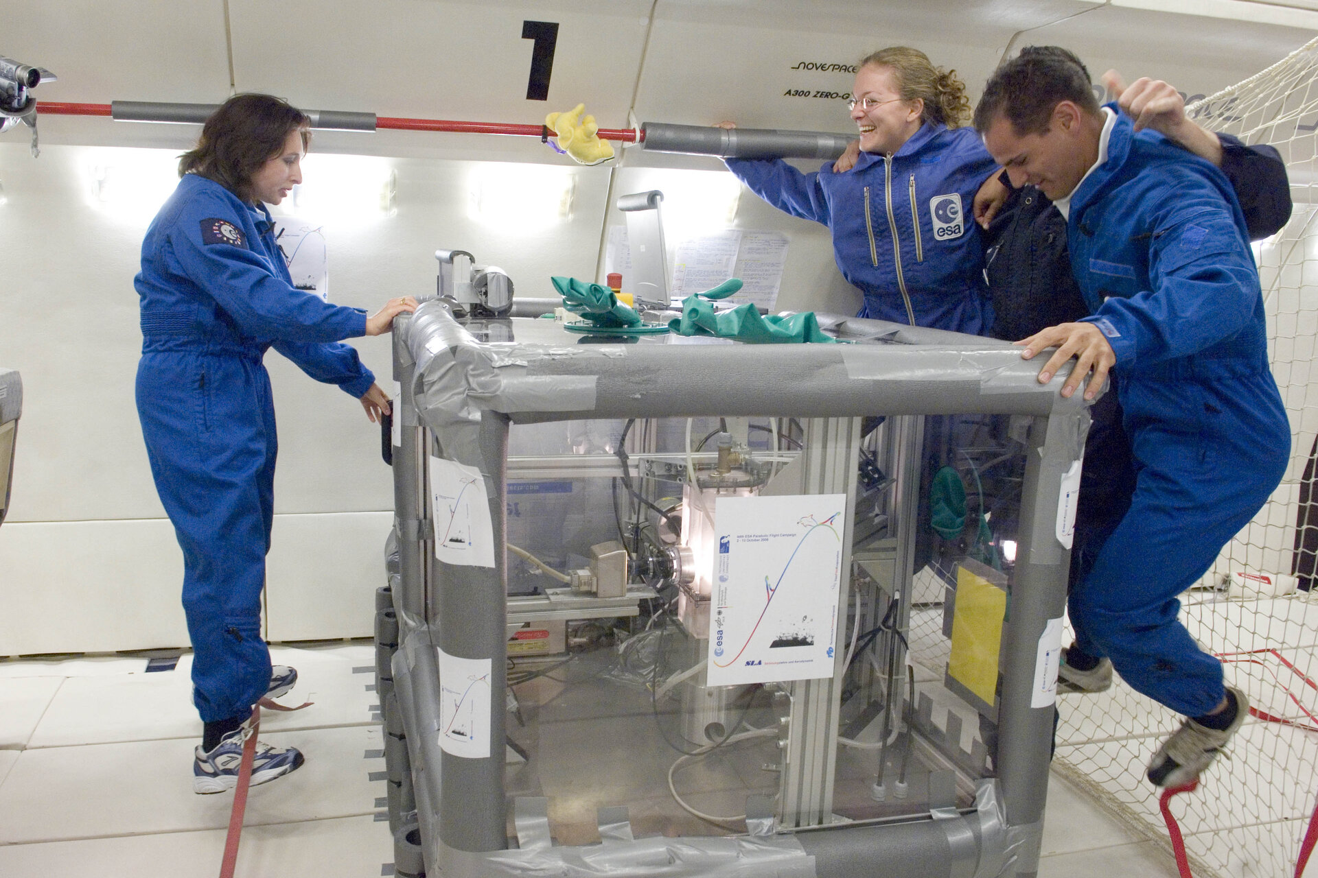 The team from the Technical University of Darmstadt conducting the experiment of spray impact on heated target