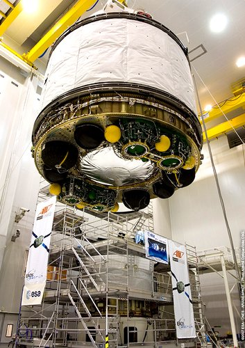 The two halves of the Jules Verne spacecraft are mated at Europe's Spaceport in Kourou, French Guiana