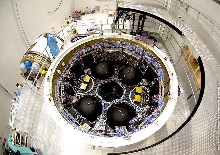 View into the Jules Verne Avionic Bay as the spacecraft is prepared for launch at Europe's Spaceport in Kourou