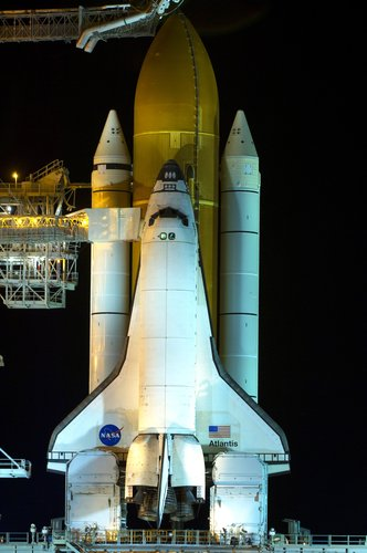 View of Space Shuttle Atlantis ahead of the STS-122 mission