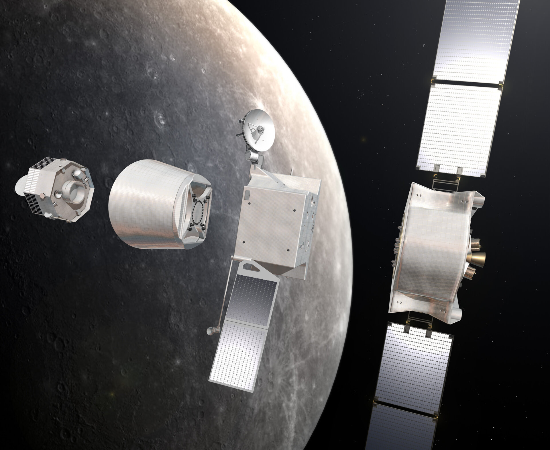 BepiColombo leaves the EarthBepiColombo's cruise components separate at Mercury