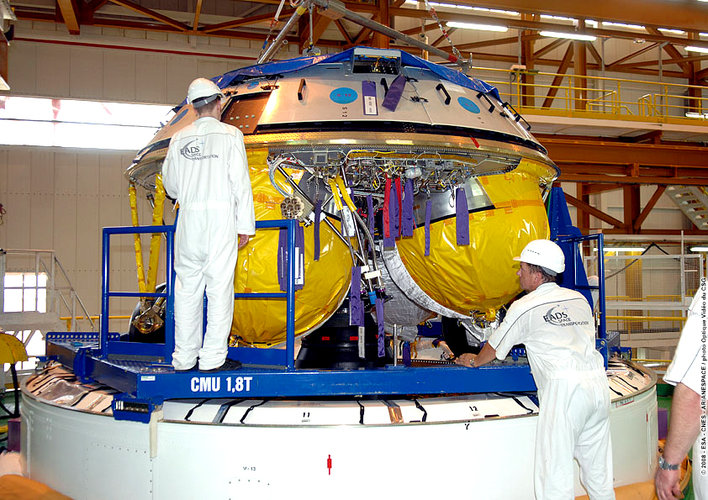Engineers at Europe's Spaceport in Kourou, French Guiana, prepare the Ariane 5 ES ATV for the Jules Verne flight