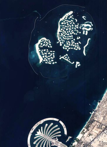 Palm Jumeirah (left) and The World islands