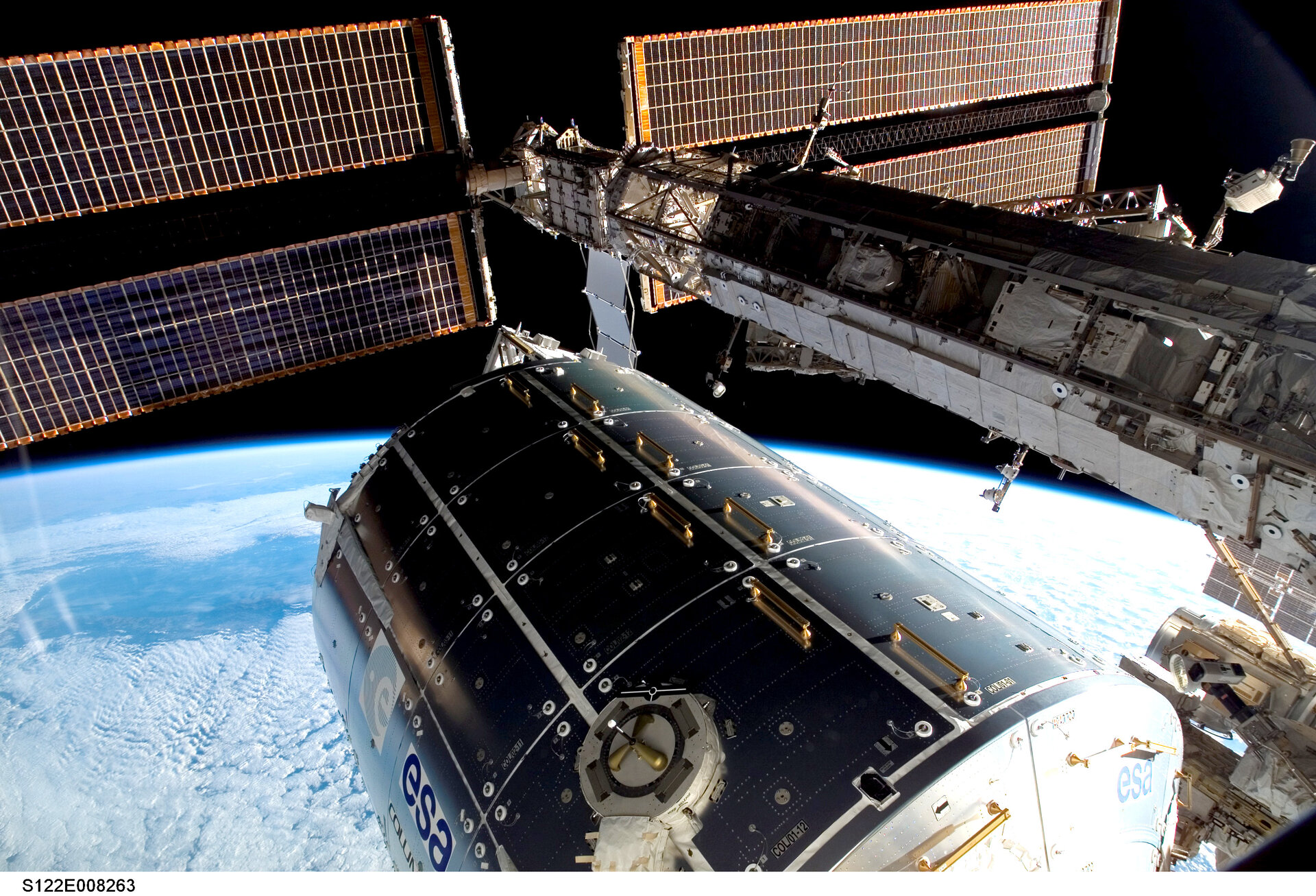 Columbus laboratory attached to International Space Station