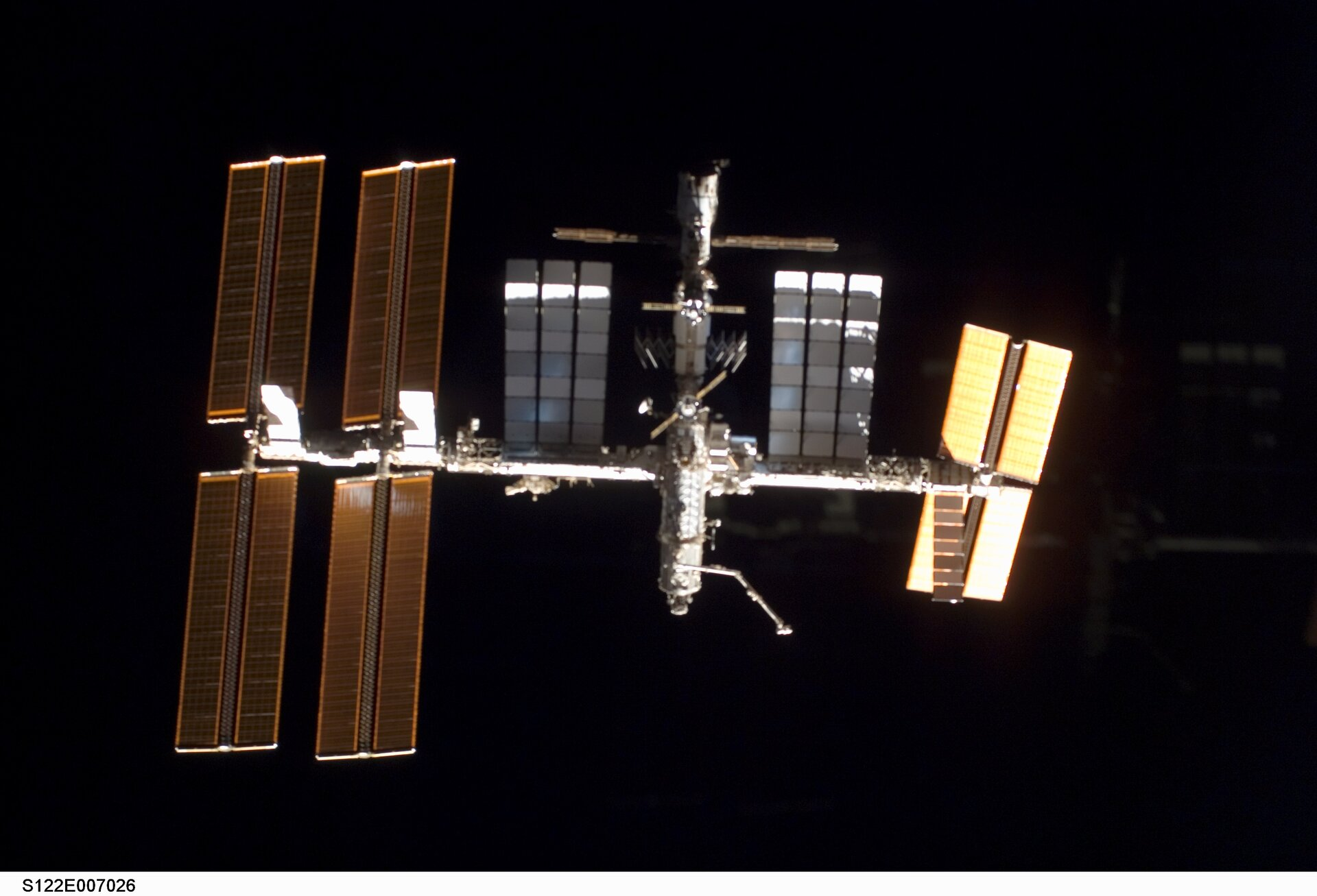 A view of the ISS as Space Shuttle Atlantis' approaches for docking on 9 February 2008