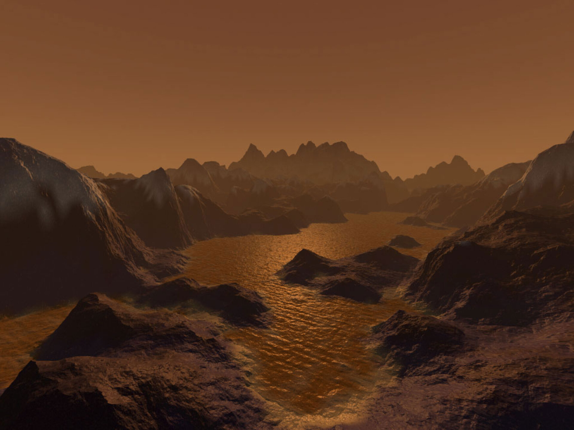 An artist's imagination of Saturn's largest moon Titan