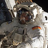 Hans Schlegel during his first spacewalk