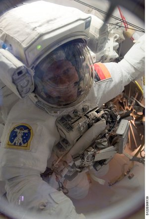 ESA astronaut Hans Schlegel during his first spacewalk