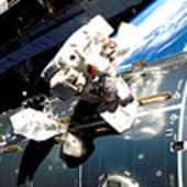 Schlegel works on Columbus during spacewalk