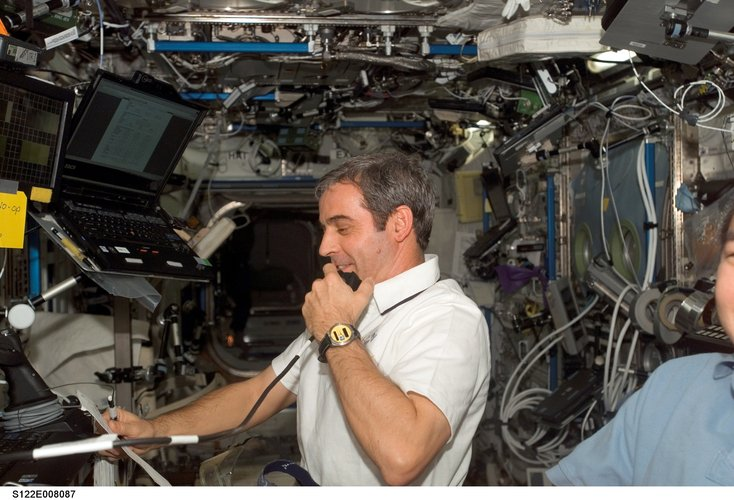 ESA astronaut Léopold Eyharts on board the International Space Station