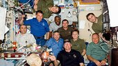 STS-122 crew and Expedition 16 on board the ISS