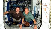 Schlegel and Walheim after arrival at ISS