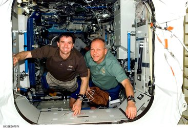 Hans Schlegel and Rex Walheim shortly after arrival at the International Space Station