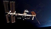 ISS is seen from Space Shuttle Atlantis