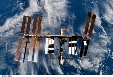 ISS seen from Space Shuttle Atlantis following undocking