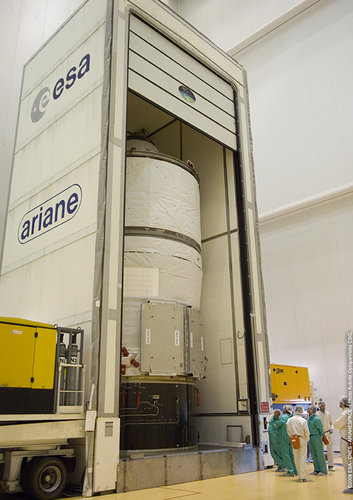 Jules Verne ATV is moved out of container in the Final Assembly Building at Europe's Spaceport in Kourou