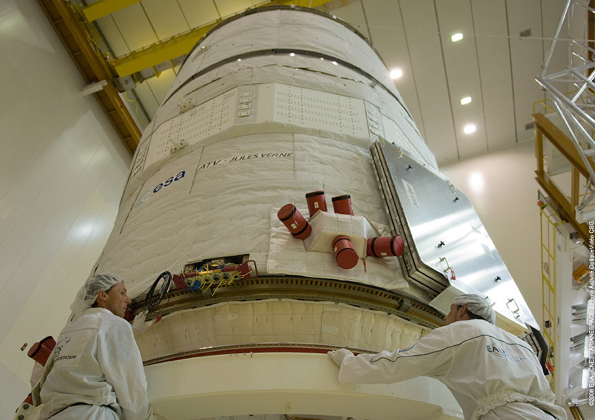 Jules Verne ATV is prepared for launch at Europe's Spaceport in Kourou, French Guiana