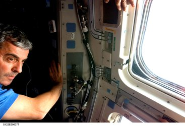Leopold Eyharts inside Space Shuttle Atlantis